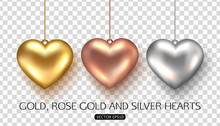 Set Of Rose, Gold And Silver H...