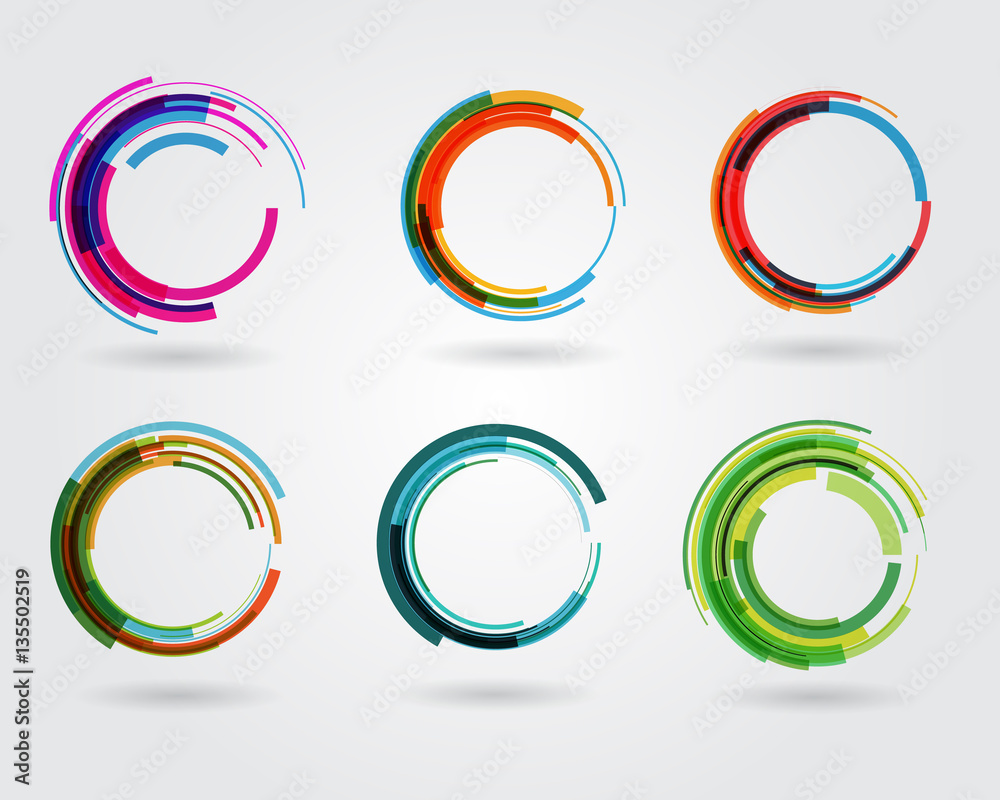 Fototapety, obrazy: Geometric circle entwined wheels. Business abstract icon. As sign, symbol, logo, web, label, emblem.