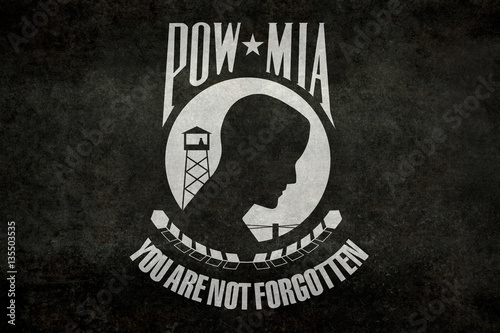 Photo  POW MIA Flag, worn distressed version