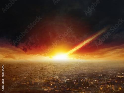 Obraz na płótnie Judgment day, end of world, asteroid impact