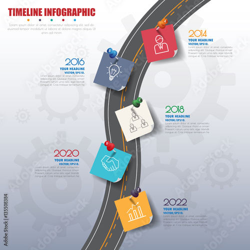 Photo  business concept timeline. Infograph template, realistic paper 5