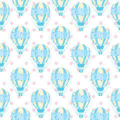 Tapeta Baby shower seamless pattern with cute blue hot air balloon on polka dot background suitable for baby shower wallpaper, fabric, and scrap paper