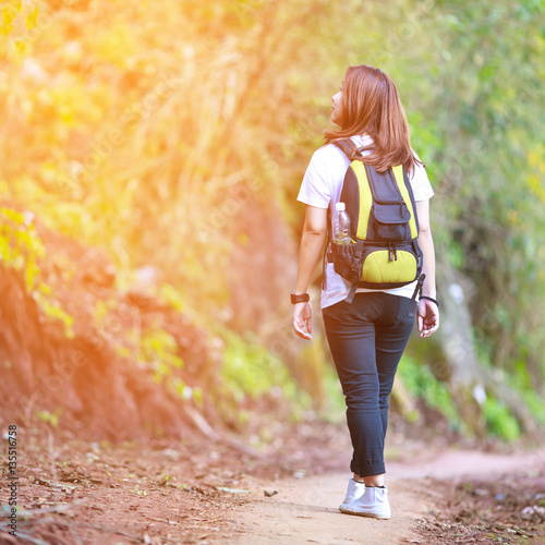 Asia woman hiker in the forest