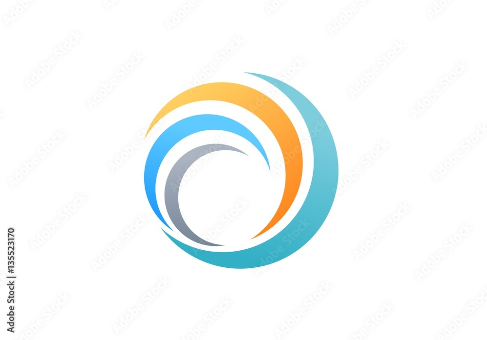 sphere global swirl elements logo, abstract spiral symbol, twist circle wave icon, round shape vector design template
