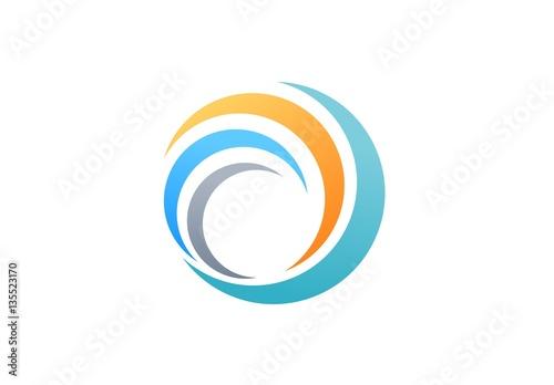 Fotografía sphere global swirl elements logo, abstract spiral symbol, twist circle wave ico