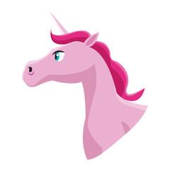 pink unicorn horse icon over white background. colorful design. vector illustration