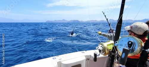 Photo  Big game fishing. Caught a marlin jumping near the boat.