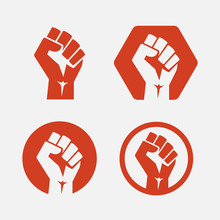 Raised Fist Set Red Logo Icon ...