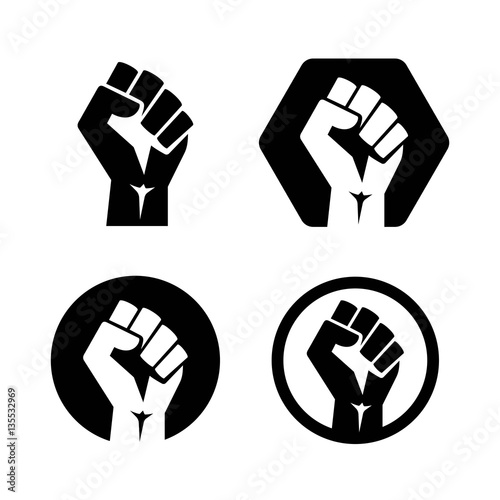 Fotografiet Raised fist set black logo icon - isolated vector illustration