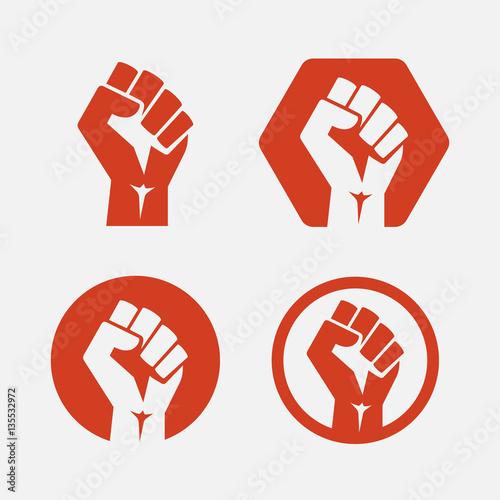 Raised fist set red logo icon - isolated vector illustration Canvas-taulu