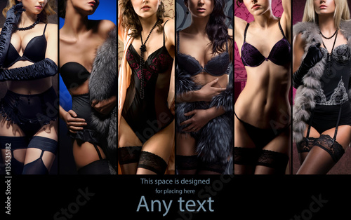 Obraz Beautiful and sexy women in lingerie. Erotic underwear collection. - fototapety do salonu