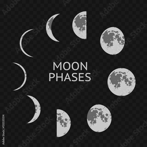 Photo Phases of Moon Card. Vector