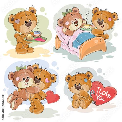 Set vector clip art illustrations of enamored teddy bears #135535975