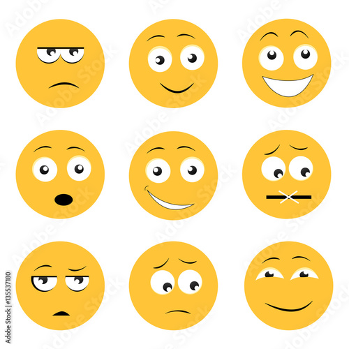 Photo  Set of yellow emojis icons isolated on white background