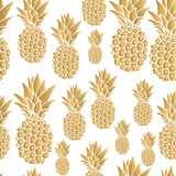 Pattern. Gold pineapple background. Vector illustration. - 135539309