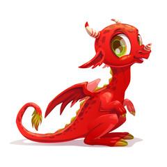 Śmieszna kreskówka mały czerwony siedzący smok.