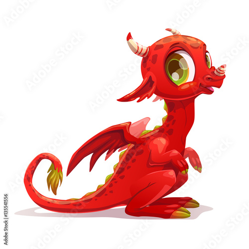 Fotografie, Obraz Funny cartoon little red sitting dragon.