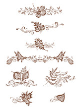 Vintage Page Decorations With Leaves.