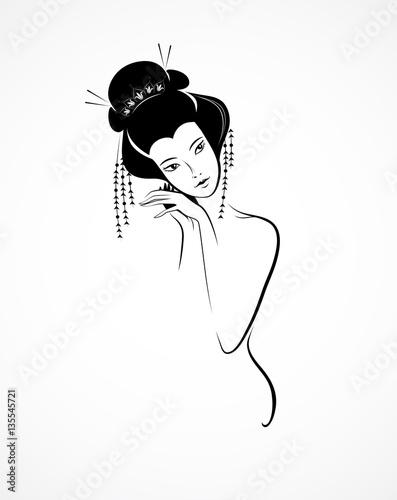 Fototapeta Graphic vector image of Japanese women, geisha