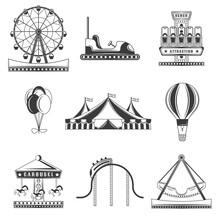 Set Of Amusement Park Monochrome Icons, Design Elements Isolated On White Background. Flat Style.