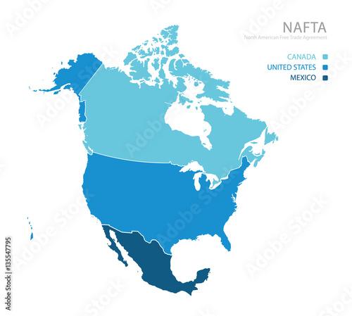 Map of NAFTA (North American Free Trade Agreement) Wall mural