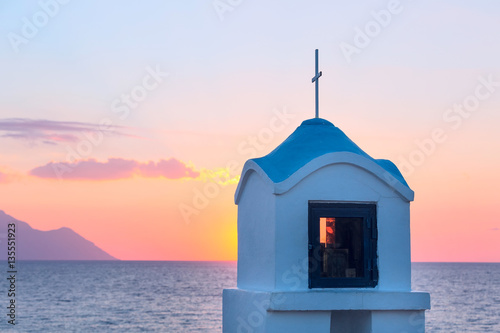 Fotografie, Obraz  Small greek chapel and mount Athos with sea panorama in Greece