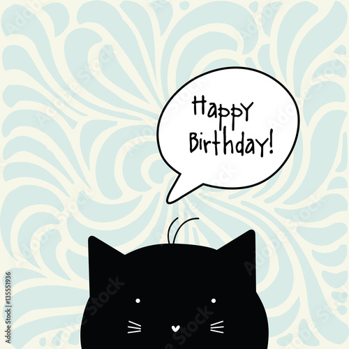Happy Birthday card. Cat character. Greeting card with copy
