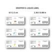 Dropper e-liquid label for branding identity of eliquid brand white clean look