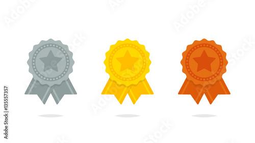 Fototapeta Seal ribbon silver gold and bronze set vector
