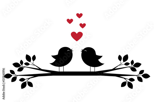 Photo  Silhouettes of cute birds sing and red hearts