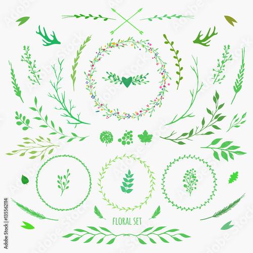 Set Of Decorative Floral Elements For Spring Design Vector Flowers