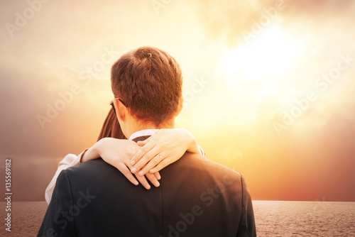 Romantic Couple In Love On Happy Valentines Day Lovers Back Hugging