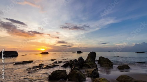 Fotografie, Obraz Tropical beach at Phu Quoc island in Vietnam sunset Time Lapse