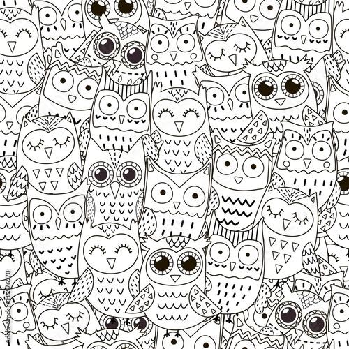 Photo Stands Owls cartoon Doodle owls seamless pattern