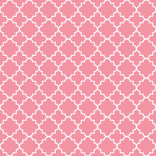 Traditional Quatrefoil Lattice Pattern Outline. Pink Quatrefoil Background. Vector Illustration.