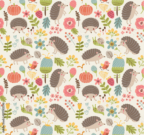 Foto op Canvas Kunstmatig Seamless pattern forest with hedgehogs