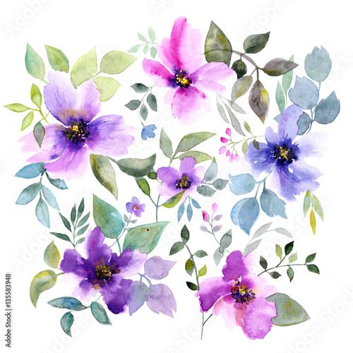 Purple Watercolor Flower Birthday Card