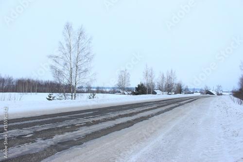 Tuinposter Lichtblauw Зимний пейзаж средней полосы Россиии