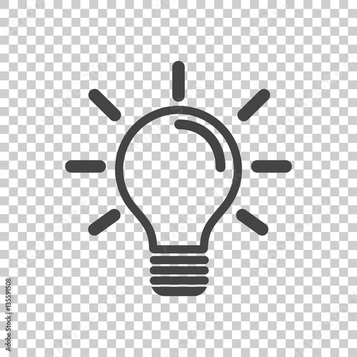 Obraz Light bulb icon in isolated background. Idea flat vector illustration. Icons for design, website. - fototapety do salonu