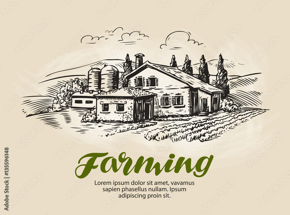 Fototapety, obrazy: Cottage, country house sketch. Farm, rural landscape, agriculture, farming vector illustration