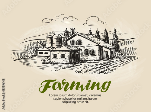 Obraz Cottage, country house sketch. Farm, rural landscape, agriculture, farming vector illustration - fototapety do salonu