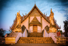 Wat Phumin Or Wat Phumin Temple Attractions Of Nan Province, Thailand. Painting The Walls That Tourists Like To Visit.