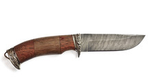 Hunting Knife With Wooden Handle On A White Background Isolated