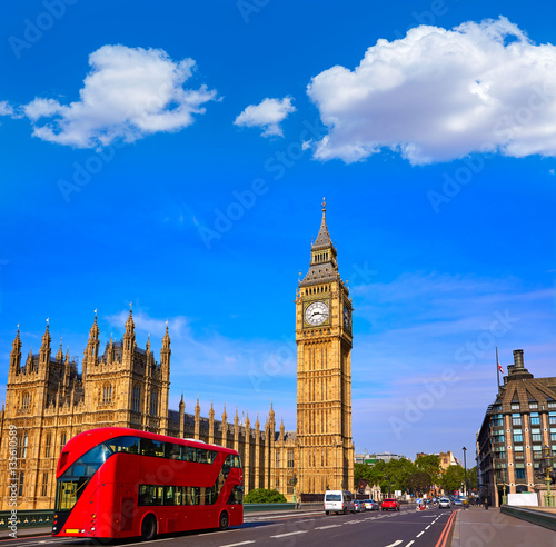 Poster Londres bus rouge Big Ben Clock Tower and London Bus
