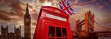 Fototapeta Londyn - London photomount with telephone box