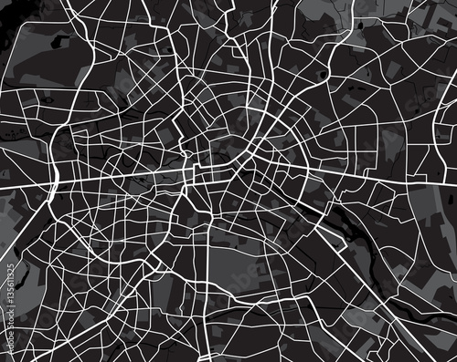 Fotografie, Obraz Black and white scheme of the Berlin, Germany. City Plan of Berl