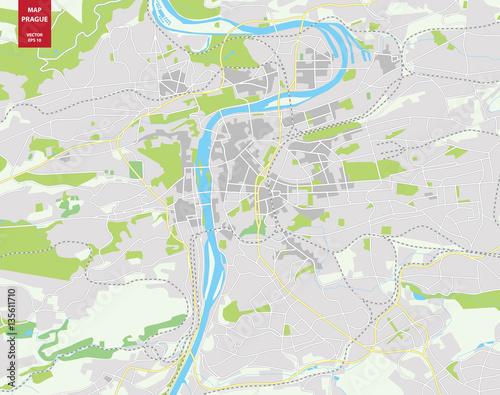 Vector color map of Prague, Czech Republic. City Plan of ...