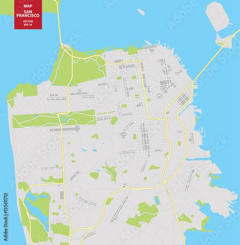 Vector color map of San Francisco, USA. City Plan of San Francisco ...