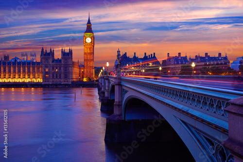 Fotografie, Obraz  Big Ben Clock Tower London at Thames River