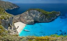 Navagio Beach And Shipwreck, Zakynthos, Greece